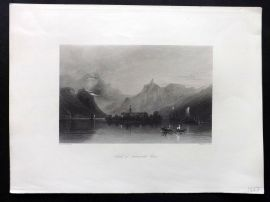 Wright C1850 Antique Print. Island of Nonnenwerth, Germany